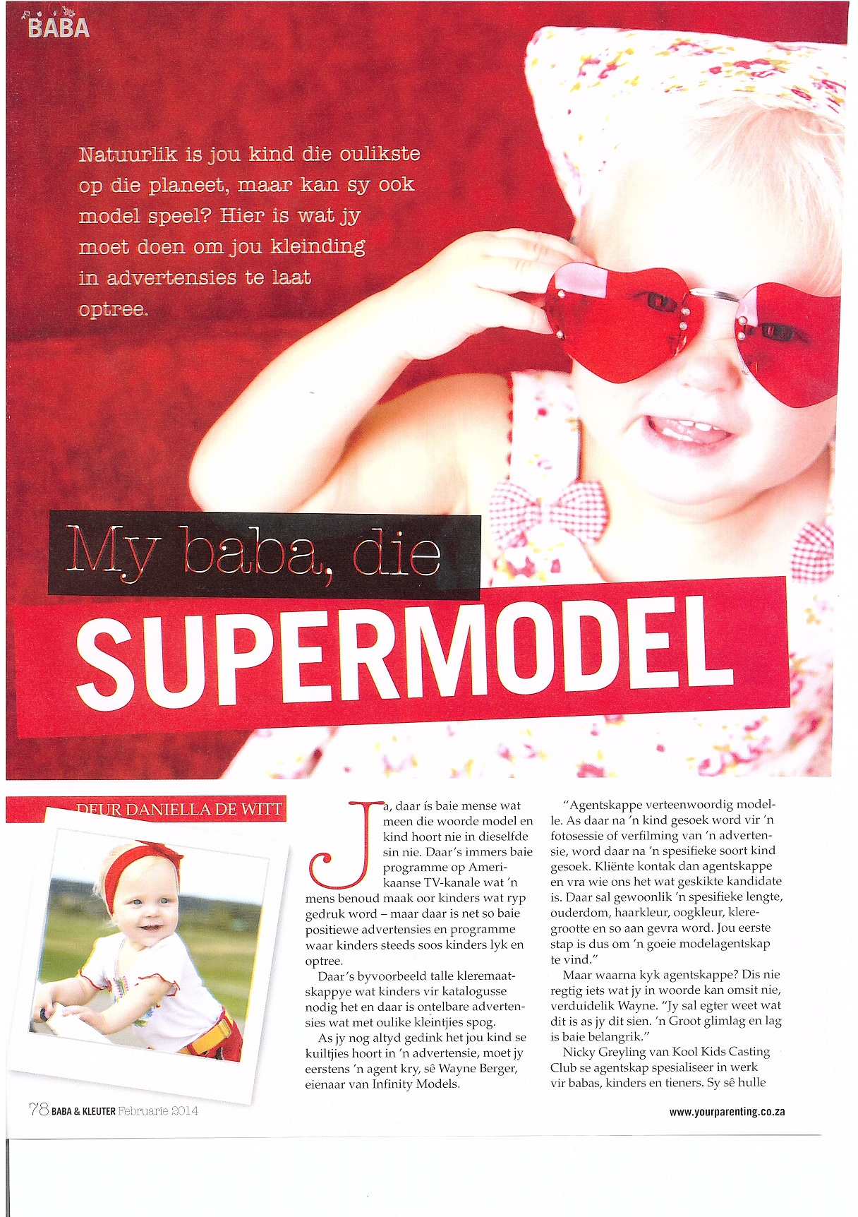 Baba en Kleuter Magazine Feb 2014 Article on Casting Industry Featuring Kool Kids P2