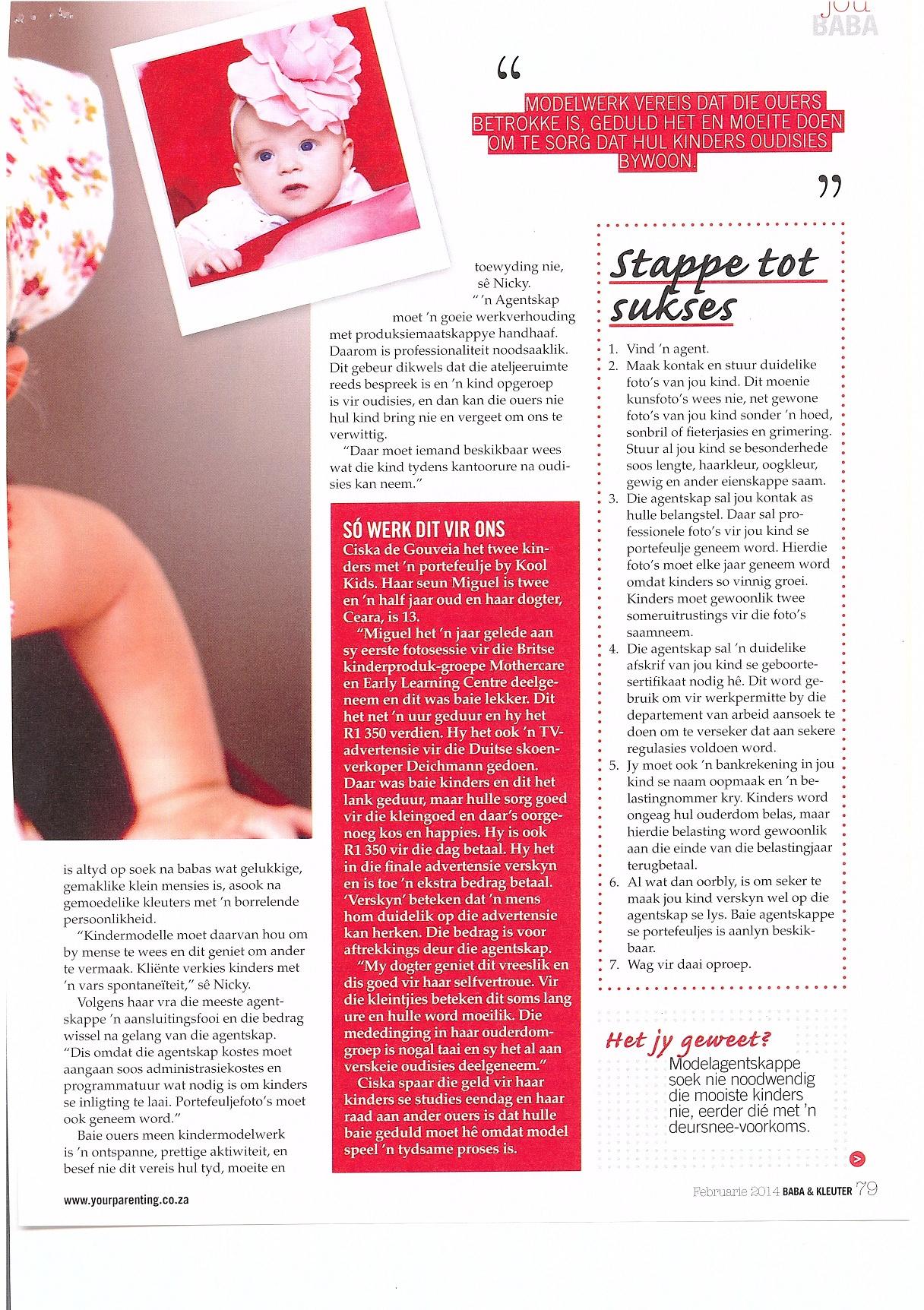 Baba en Kleuter Magazine Feb 2014 Article on Casting Industry Featuring Kool Kids P3